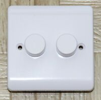 Trailing Edge LED dimmer switch White 2 gang 2 way Push on off Soft edge