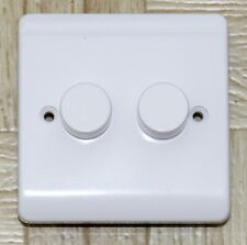 Trailing Edge LED dimmer switch, White, 2 gang 2 way, Push on / off