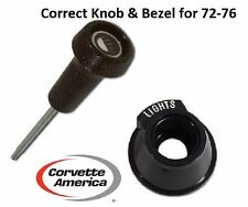 72-76 Corvette Correct Headlight Switch Knob/Rod & Bezel by Corvette America