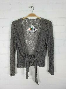 Gringo Fairtrade Grey Knitted Acrylic Long Sleeve Tie Front Cardigan - Fault