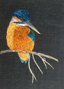 "ACEO Original ""Kingfisher"" Silk Hand Embroidery - A Lobban"