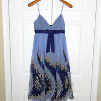 NWT Anna Sui for Anthropologie 100% Silk Blue Floral Sleeveless Dress Bow Size 4