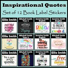 Personalised Inspirational Quotes Book Label Stickers Set of 12 - Any Text, Gift