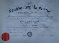 ANTIQUE 1891 NORTHWESTERN UNIVERSITY YALE DEAN DIPLOMA JAMES HENSEL H.W. ROGERS