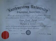 ANTIQUE 1891 NORTHWESTERN UNIVERSITY YALE DEAN DIPLOMA JAMES HENSEL H.W. ROGERS
