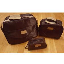 Yves Rocher travel case set of 3 make-up bag brown aubergine color handles strap