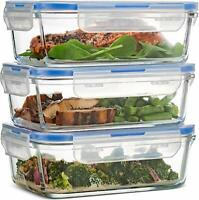 28 Oz Glass Meal Food Prep Containers Airtight Lunch Storage Locking Lids 3 Pack