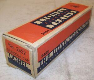 Lionel Postwar 2452 PRR Gondola Car Original 3-City BOX & LINER ONLY ~ EX-