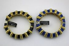 $78 BANANA REPUBLIC Lot Of 2 Enamel Gold Tone Hinged Chunky Bangle Bracelet NWT