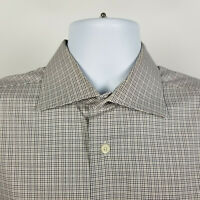 David Donahue Blue Brown Mini Check Mens Dress Button Shirt Size Large