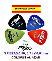 3 PUAS PAJUELAS UÑAS GUITARRA BAJO MANDOLINA ROCK 0,58, 0,71 Y  0,81mm 5 PICK