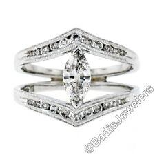 14k oro bianco 1.01ct marquise e rotondo diamante tagliato milligrana APERTO