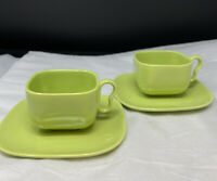 Set of 2 Franciscan TIEMPO Avocado Green Green Coffee Cups and Saucers