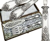 Boxed French Sterling Silver 2pc Fish Server Set - Mascarons