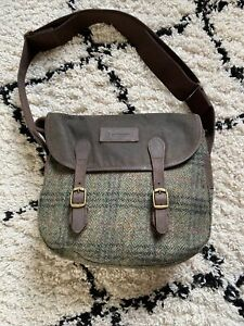 Brand New Genuine Leather Barbour Olive Tweed  Wax Bag