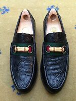Gucci Mens Shoes Black Leather Horsebit Loafers UK 9 US 10 EU 43 Web Bamboo Croc