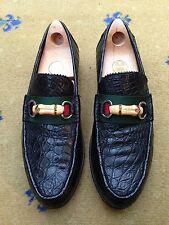 Gucci Mens Shoes Black Leather Horsebit Loafers UK 9 US 10 EU 43 Web Bamboo
