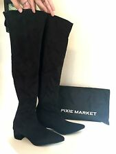 Pixie Market Stella Thigh High High Suede Boots Size 8 Black Color