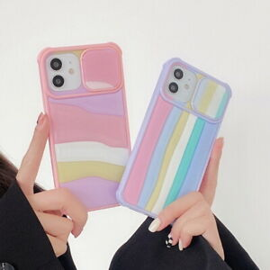 Rainbow Case For iPhone 12 Pro Max 11 X 7 8 XR XS Camera Slide Protection Cover
