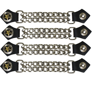 4 pc 6 1/2 Inch Motorcycle Vest Extender Biker Gold Star 4 Inch Chain Chrome