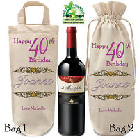 Personalised 40th Birthday Bottle Bag Champagne Wine Birthday Gift Any Colour