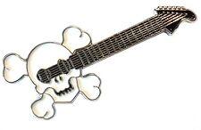 Skull Electric Guitar Enamel Badge Heavy Metal Rock Goth Music Band Lapel Pin