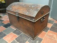 Treasure Trunk Blanket Tuck Box H41cmBy 48w By D 40Cm Metal Antique With Studs
