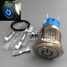 19mm 12V BLUE Led Lighted Push Button Metal ON-OFF Lock Switch Connector O-ring