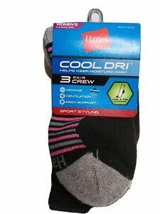 Hanes Women's Cool Dri Crew 3 Pairs Socks, (Shoe Size: 5-9) - FREE SHIPPING