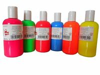 SET OF 6 x 150ml ASSORTED SCOLA NEON FLUORESCENT COLOUR PERMANENT FABRIC PAINTS