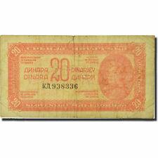 [#271794] Billet, Yougoslavie, 20 Dinara, 1944, 1944, KM:51a, TB