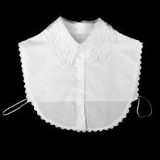 Womens Organza Embroidery Fake Peter Pan Collar Detachable Half Shirt Blouse