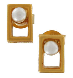 Faux Pearl Gold Tone Stud Hypoallergenic Pierced Earrings Surgical Steel Posts