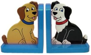 Dog On Blue Wooden Bookends - Hand Made In Uk