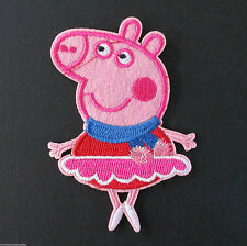 DANCING PEPPA PIG Ballarina Embroidered Iron On /Sew On Patch