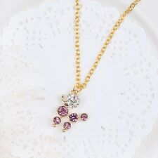 Lovely Gold Tone Necklace Poodle with purple & clear Rhinestone organza gift bag