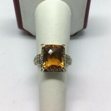 LeVian 14K Rose Gold White and Chocolate Diamond Citrine Ring Size 7.5
