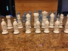 Vintage Duncan Ceramic White and Light Blue Chess Set 32 pieces - BEAUTIFUL!