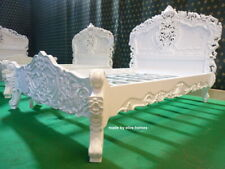"""Double size 4'6"""" Diamond White oriental French style Rococo bed mahogany wood"""