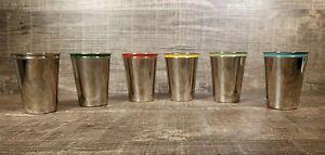 """SET OF 6 VINTAGE POLISHED SHOT GLASSES DRINK CUPS LEATHER STORAGE CASE 3"""" TALL"""