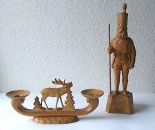 Kerzenleuchter + Bergmann geschnitzt v. Erzgebirge Hirsch-Leuchter