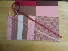 Stampin Up BERRY BLISS  6 x 6  Designer Paper Card Kit Ribbon