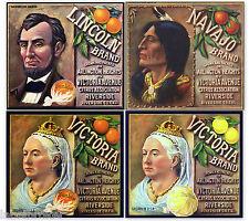 4 CITRUS CRATE LABELS VINTAGE LOT SCARCE NAVAJO LINCOLN QUEEN VICTORIA ORIGINAL