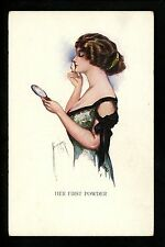 "Artist Signed Vintage Postcard C.G. Barber ""Her First Powder"" woman cosmetics"
