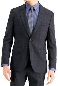 Hugo Hugo Boss Mens Suit Jacket Gray Size 36 Short Classic-Fit Plaid $445 #043