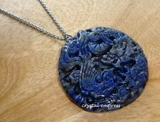 Feng Shui - 2017 Lapis Lazuli Dragon & Phoenix Stainless Steel Necklace