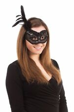 MASQUERADE HALLOWEEN LADIES BLACK LACE FLOWER EYE MASK WITH HEADBAND