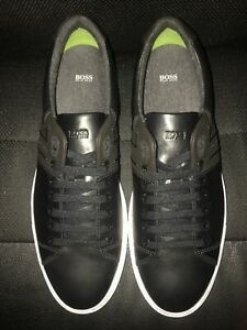 New $200 Hugo Boss Men's Enlight Black Fashion Sneakers Shoes Size 45