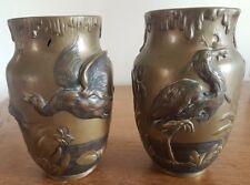 Paire den vases VIBERT Cachet Fondeur Jollet Art nouveau 1900 animalier