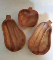 3 Vintage Wooden Bowls Vegetable Shaped Set of 3